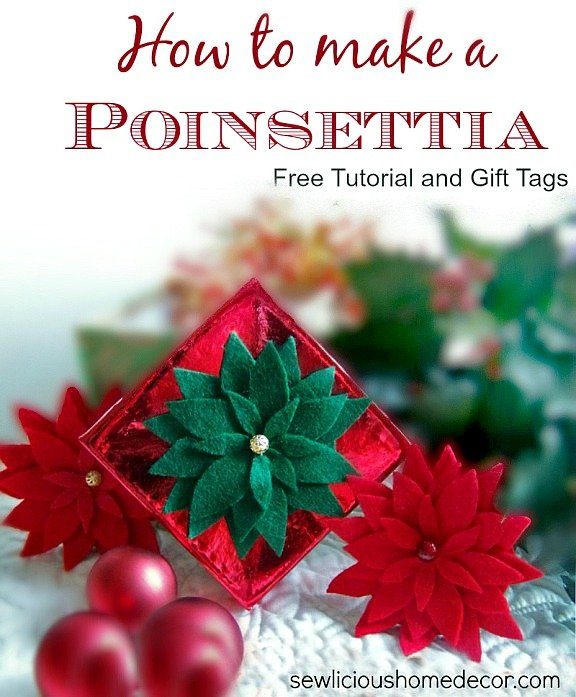 How to make a poinsettia flower with free gift tags from sewlicioushomedecor.com