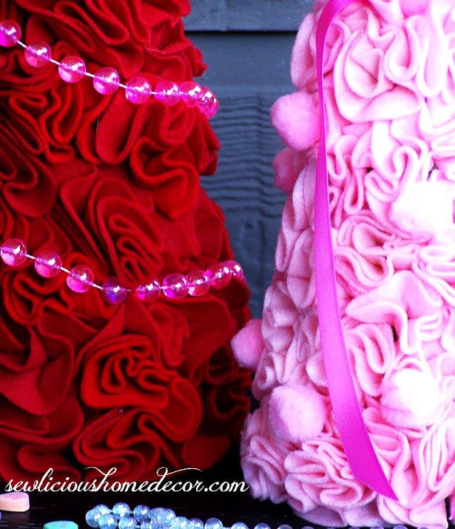 Valentine Felt Trees sewlicioushomedecor.com