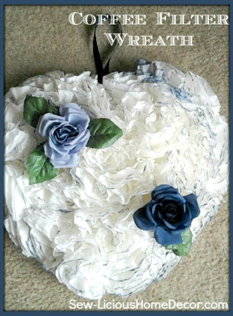 How To Make A Coffee Filter Wreath Tutorial sewlicioushomedecor.com
