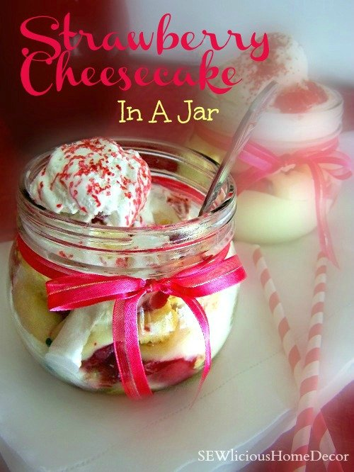 Strawberry Cream Filled Cheesecake In A Jar