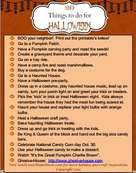 20 Things to do for Halloween