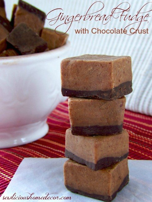 Gingerbread Fudge with Chocolate Crust