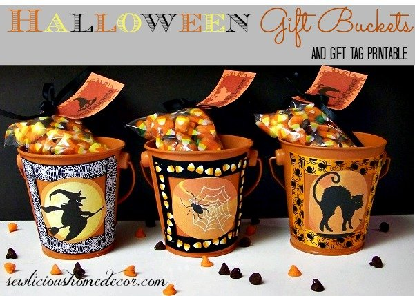 Halloween Gift Buckets with gift tags and candy