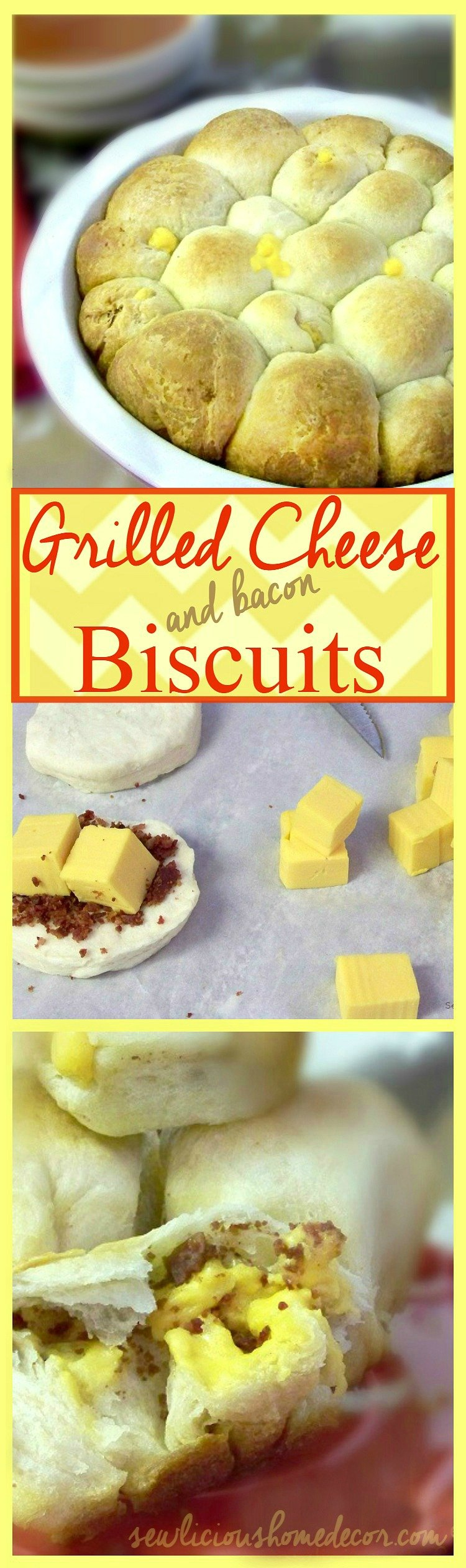 Velveeta Grilled Cheese and Bacon filled Biscuits sewlicioushomedecor.com