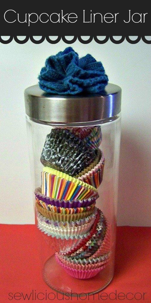 cupcake liners organizer jar holder