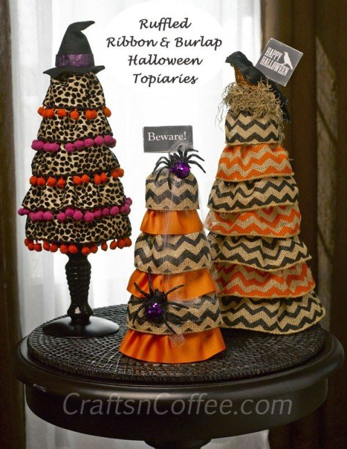 halloween diy-ruffled-burlap-cones