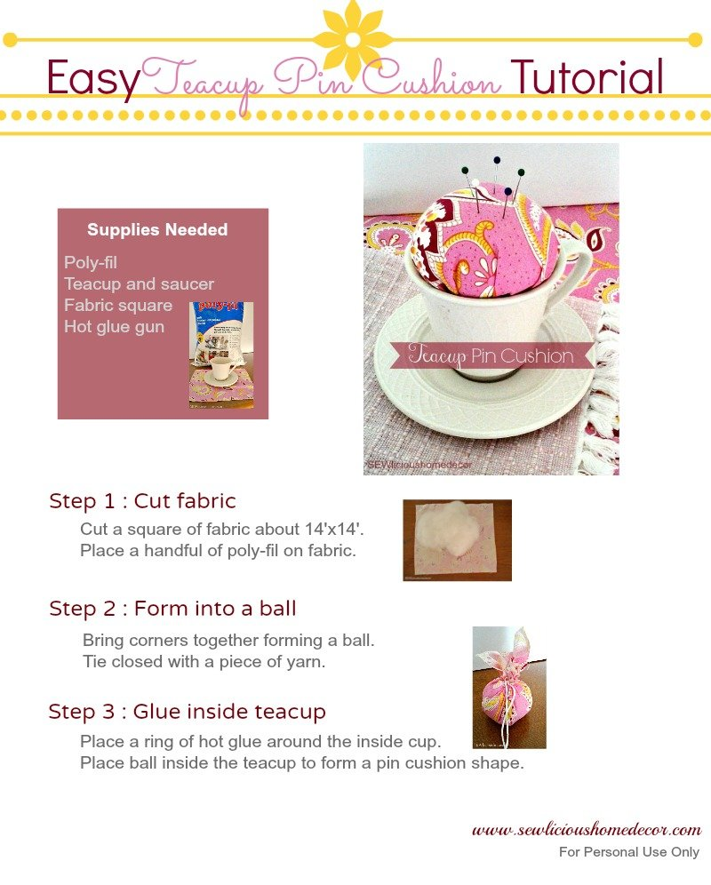 Easy Teacup Pin Cushion Tutorial