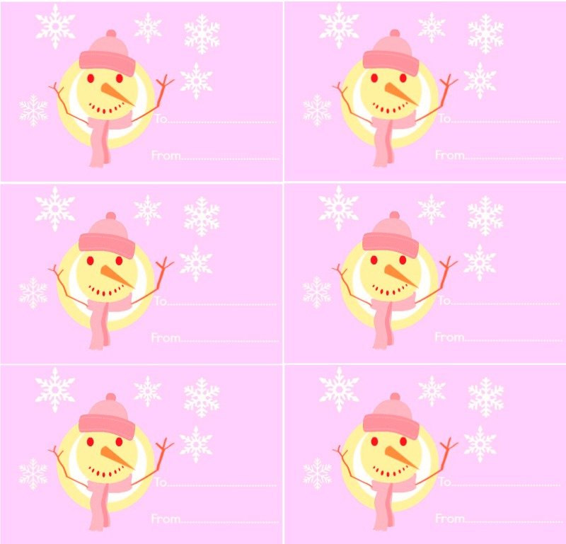 Snowman Gift Tags Pink