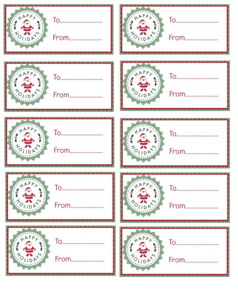 graphic about Free Printable Santa Gift Tags identify Joyful Holiday seasons Santa Present Tags