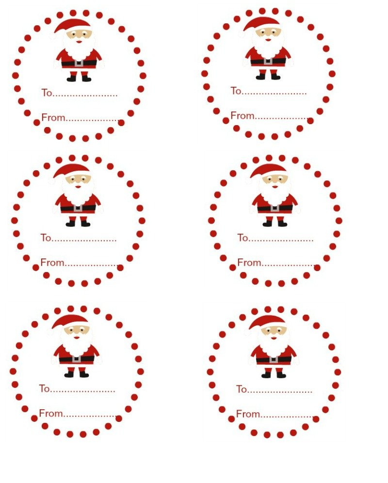 This is a graphic of Refreshing Santa Gift Tags Printable