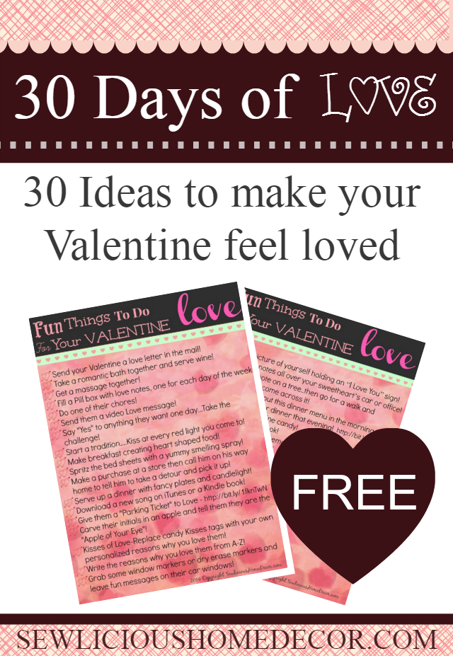 30 Fun things to do for your valentine at sewlicioushomedecor.com
