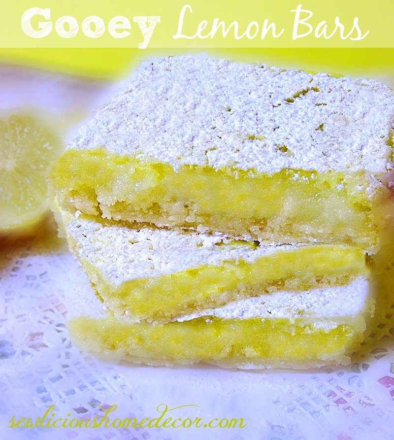 Gooey Lemon Bars at sewlicioushomedecor.com
