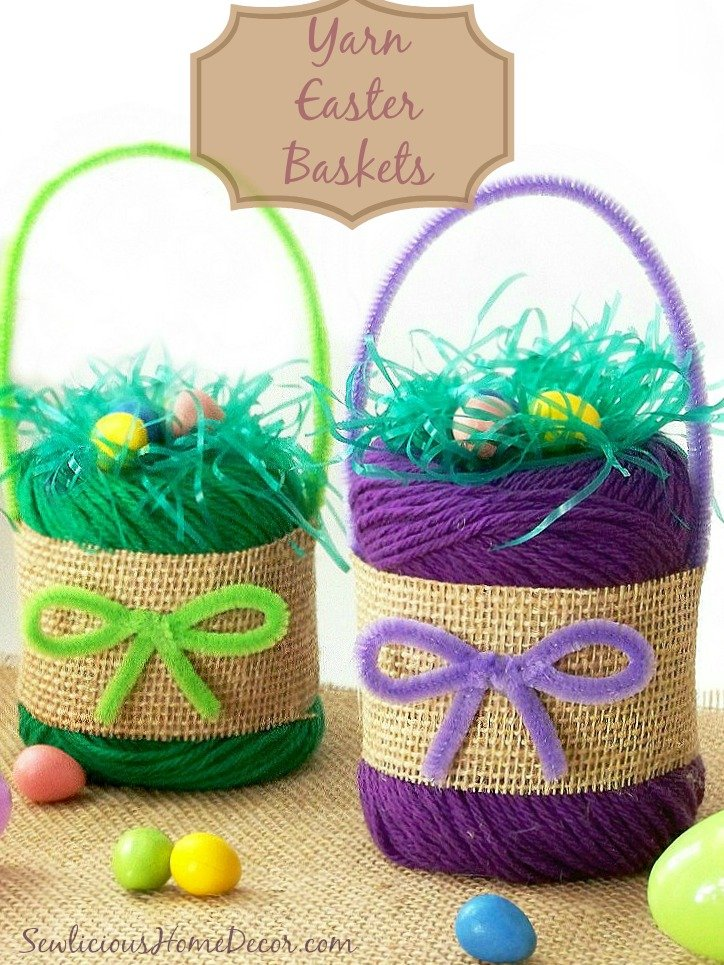 DIY Yarn Easter Baskets Craft Room Decor