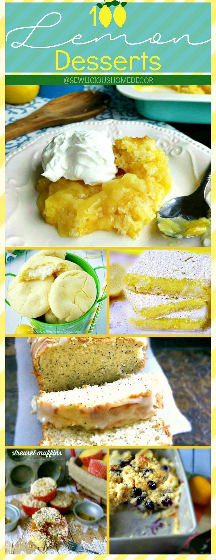 100 Lemon Dessert Recipes at sewlicioushomedecor.com