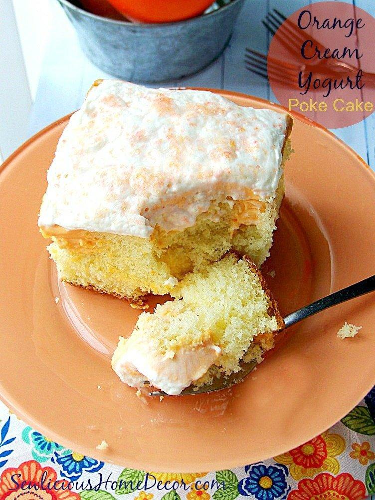 A super Moist Orange Cream Yogurt Poke Cake at sewlicioushomedecor.com