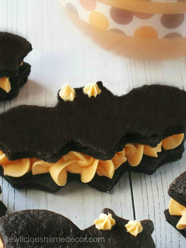 A Black Bat Velvet Bat Oreo Cream Cookie