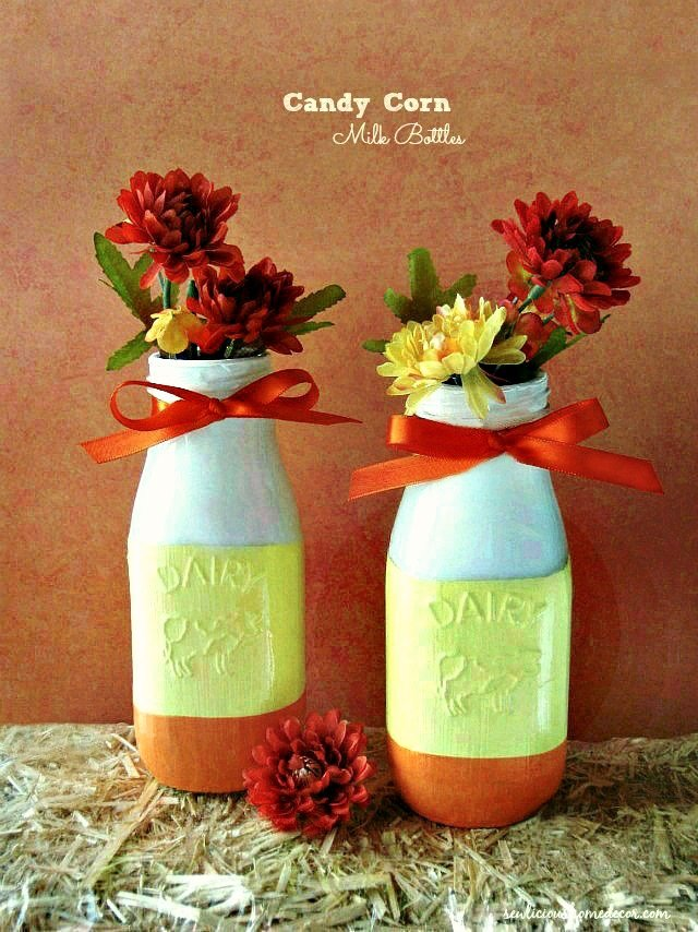 Pretty-Fall-Painted Candy-Corn-Milk-Bottles Jars-at-sewlicioushomedecor