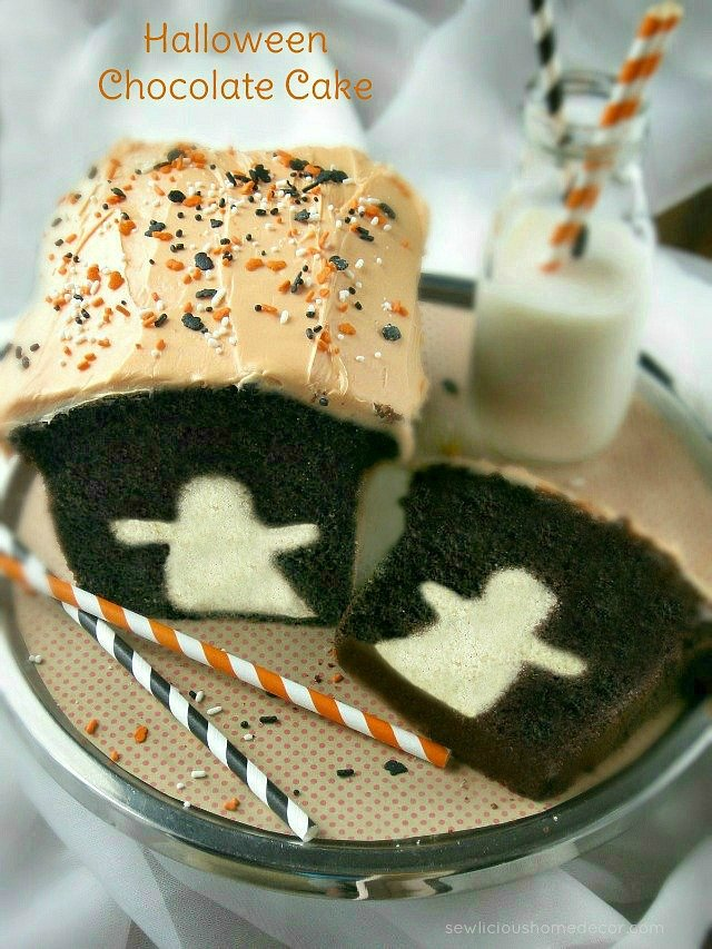 Spooky Halloween Ghost Chocolate Cake with Buttermilk at sewlicioushomedecor.com