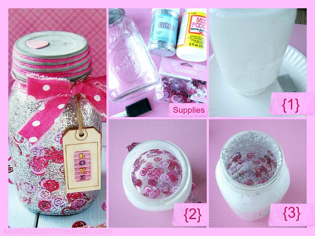 Confetti and glitter mason jar tutorial at sewlicioushomedecor.com