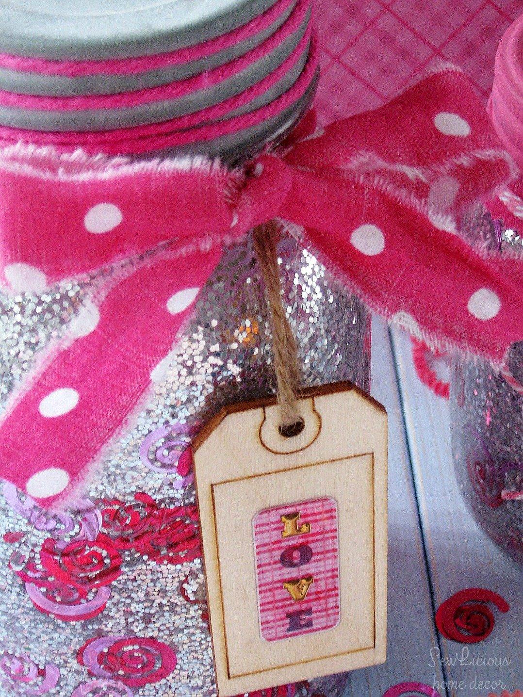 Valentine Mason Jar Glitter and Confetti