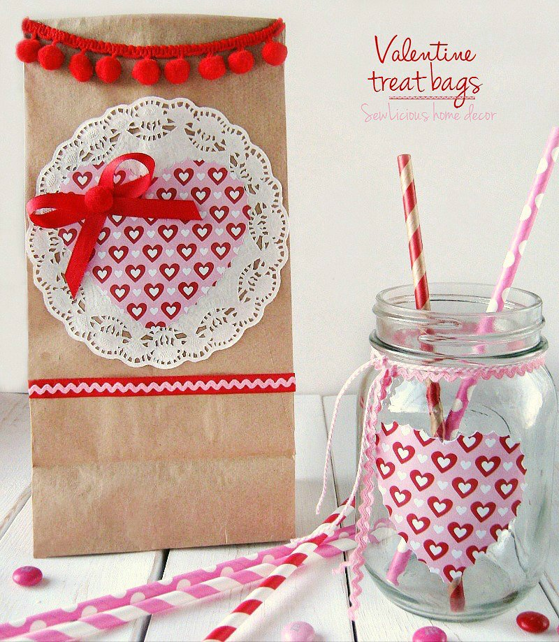 Valentine Treat Bags with Matching Mason Jars