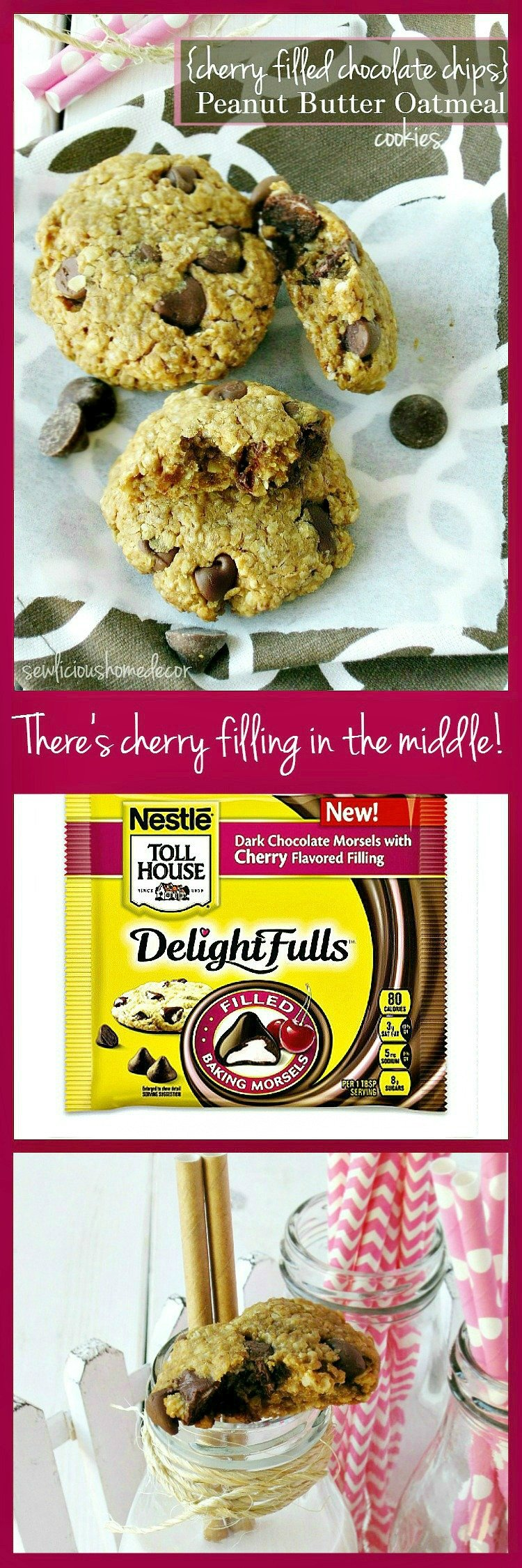 Flourless Peanut Butter and Oatmeal Cherry filled Chocolate Chip cookies sewlicioushomedecor.com