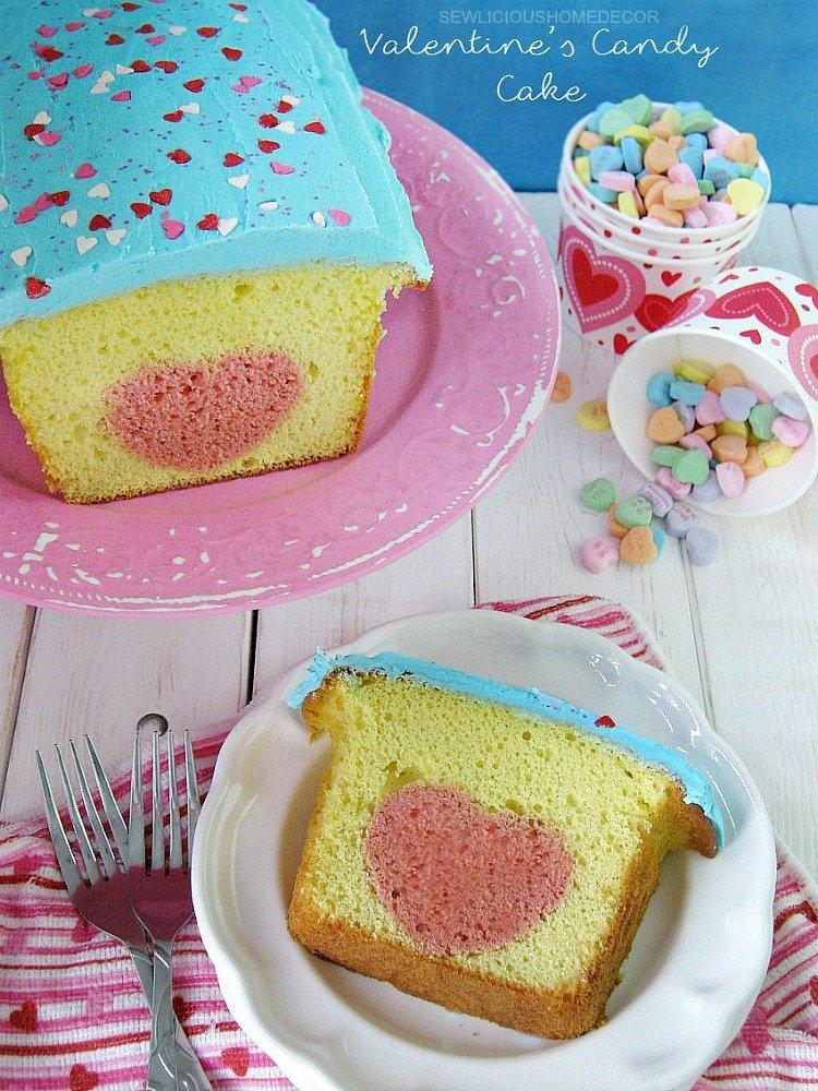 Heart Valentines Day Candy Lemon Cake sewlicioushomedecor.com
