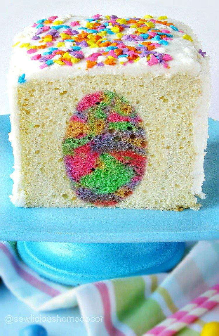 Tie Dye Easter Egg Suprise Inside Cake Dessert sewlicioushomedecor.com