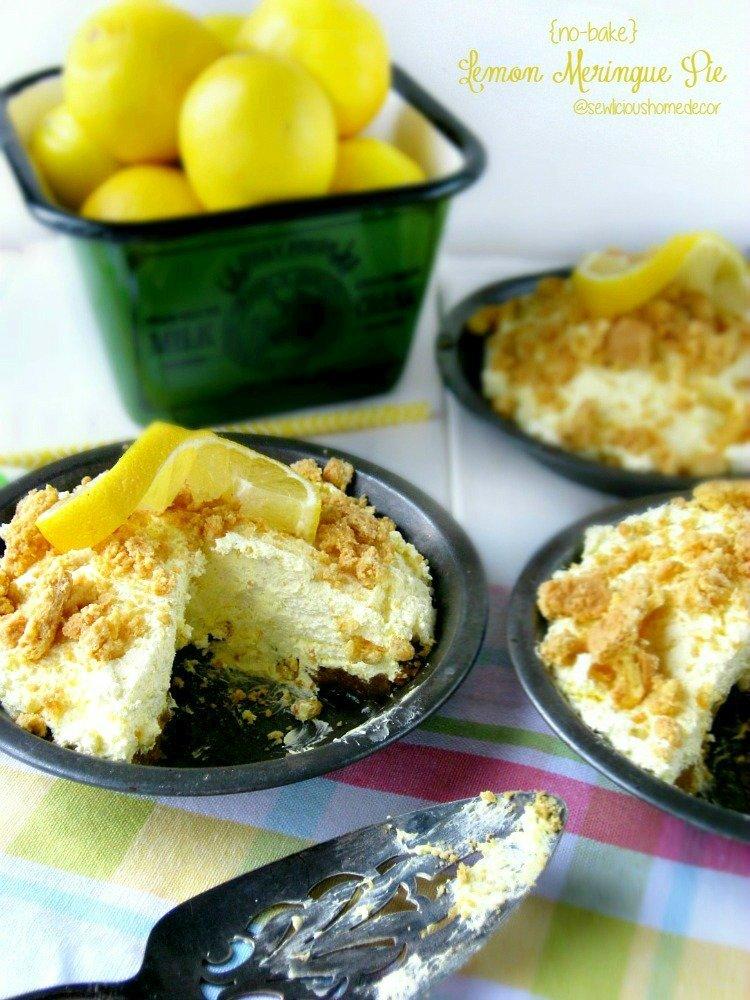 No bake Lemon Meringue Pies sewlicioushomedecor.com