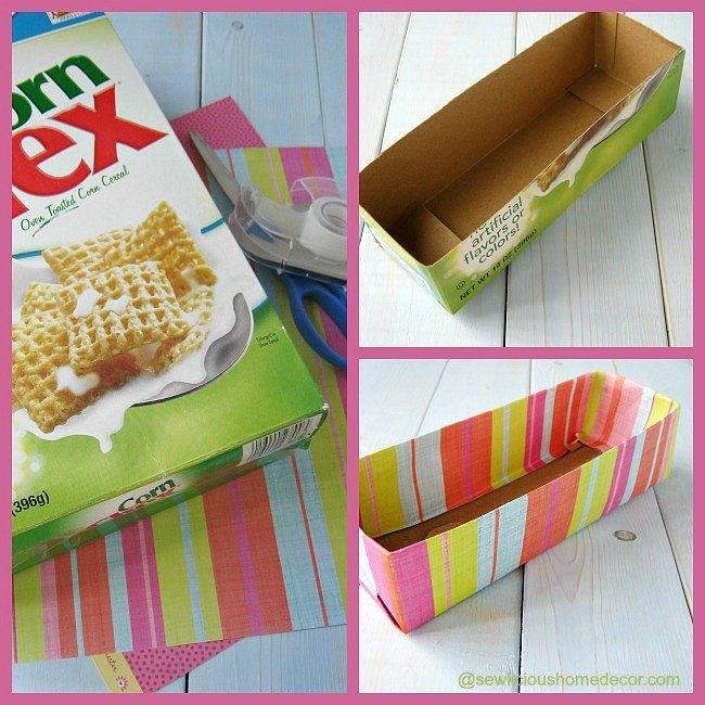 Upcycled cereal box organizer club chica circle where for Cereal organizer