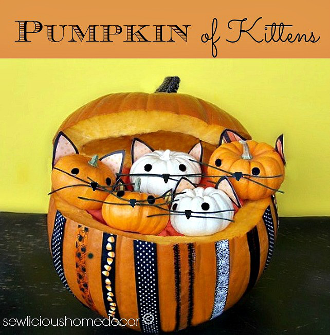 Halloween Pumpkin full of Kittens Crafts sewlicioushomedecor.com.jpg