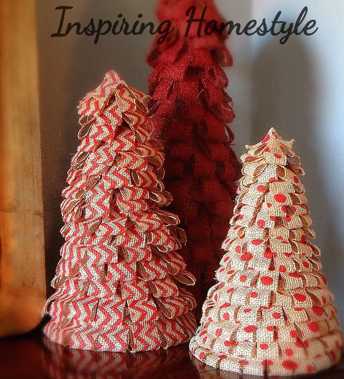 burlaptreesjpg - Burlap Christmas Decorations To Make