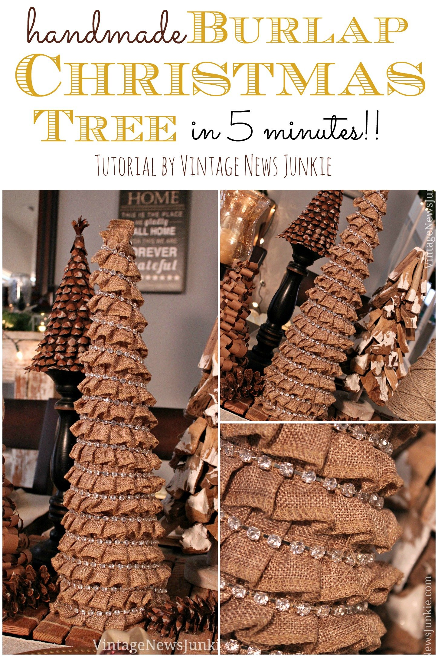 Handmade Burlap Christmas Tree In Five Minutes Easy