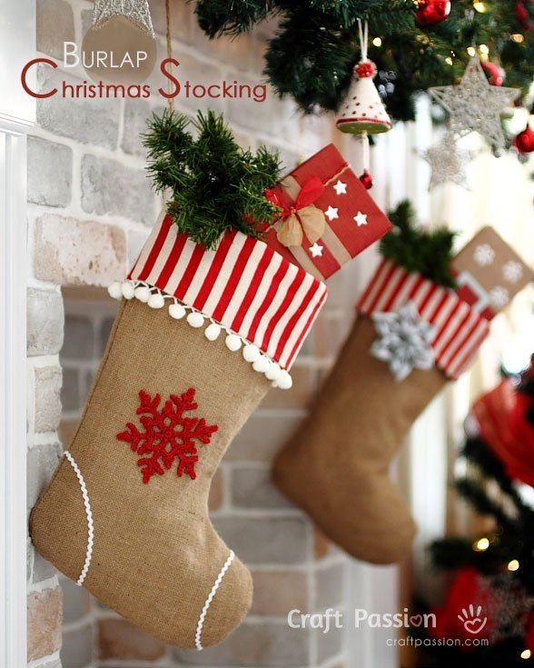 sew burlap stocking - Burlap Christmas Decorations