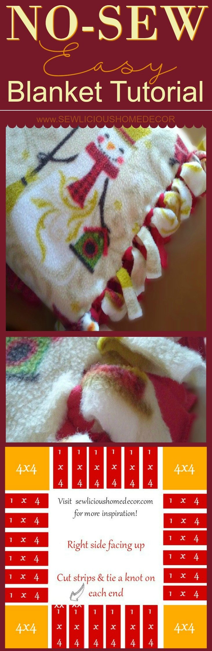 Easy No Sew Christmas Snowman Blanket Tutorial by sewlicioushomedecor.com