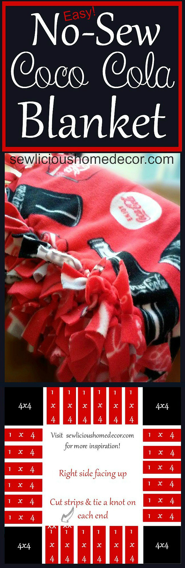 Easy No Sew Coca Cola Blanket Tutorial at sewlicioushomedecor.com