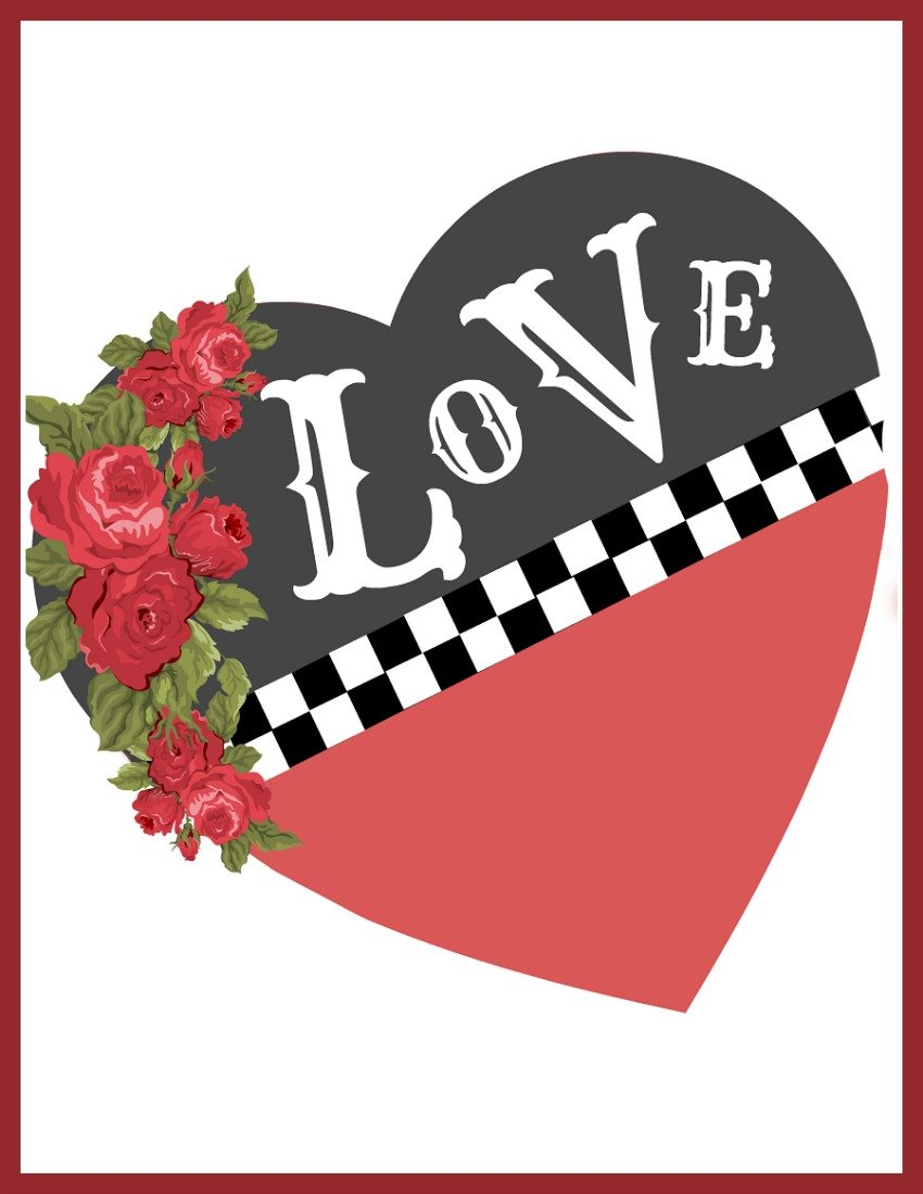 Checkered Heart Valentine Printable