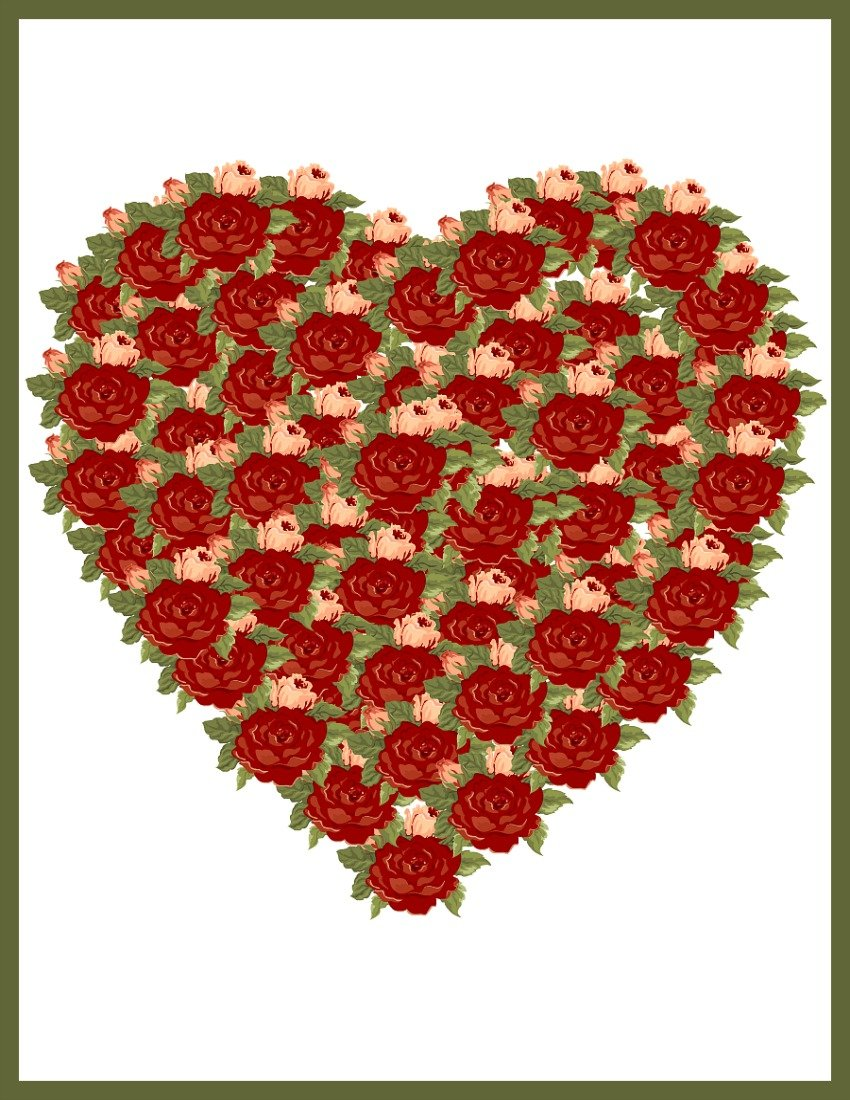 Green Rose Valentine Heart at sewlicioushomedecor.com