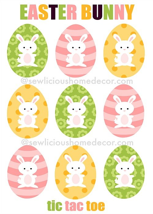 Easter Bunny Tic Tac Toe Cards at sewlicioushomedecor