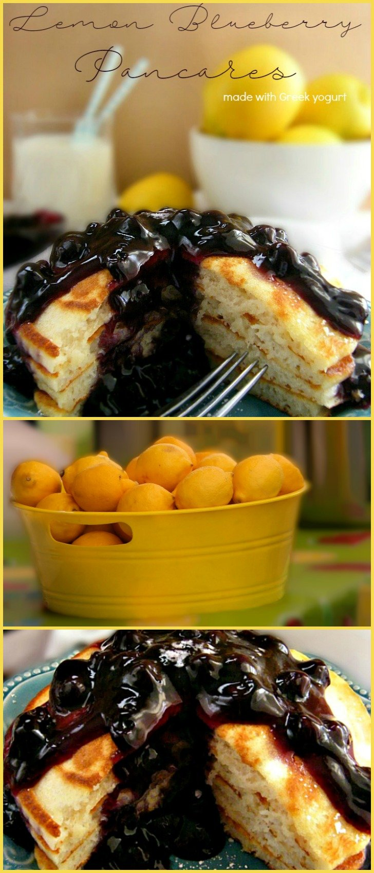 Lemon Blueberry Pancakes made with lemon Greek yogart topped with blueberry pie filling. sewlicioushomedecor.com