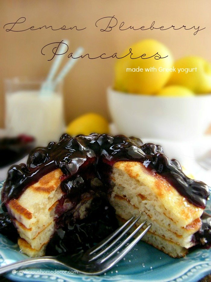 Lemon Blueberry Pancakes made with lemon Greek yogurt. sewlicioushomedecor.com
