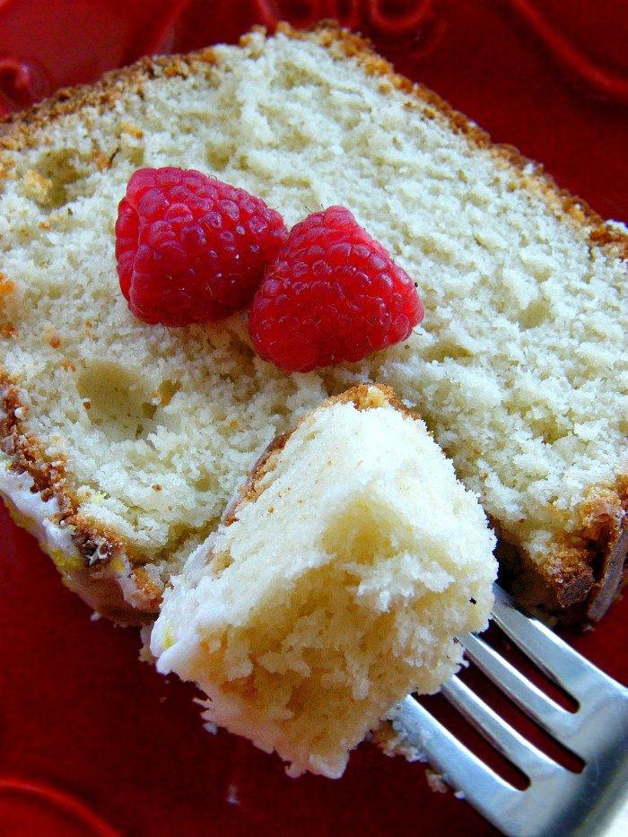 Lemon Raspberry Pound Cake with Lemon Greek Yogurt. The yogurt makes it so moist and light. sewlicioushomedecor
