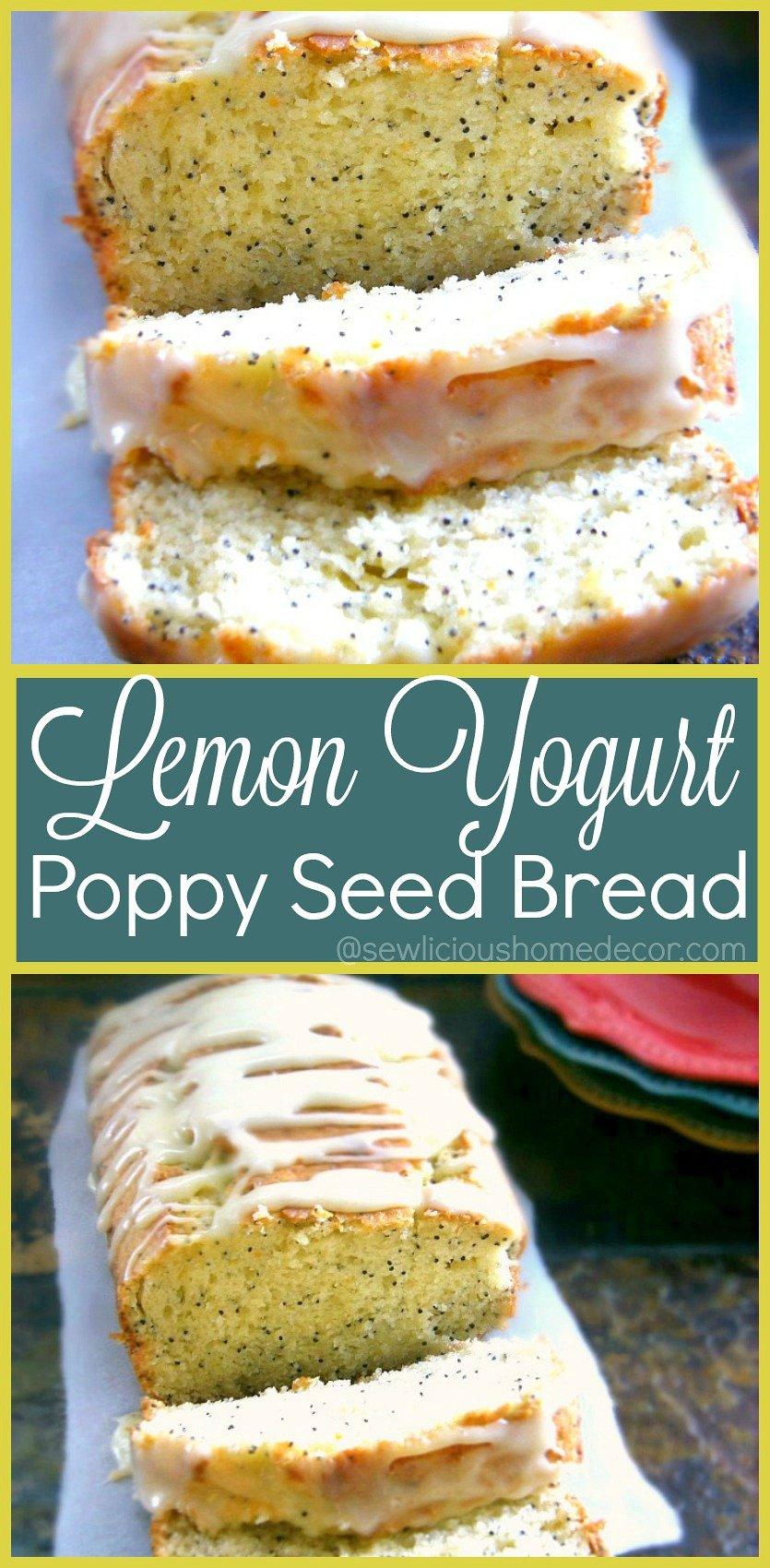 Light and Moist Lemon Greek Yogurt Poppy Seed Bread sewlicioushomedecor.com