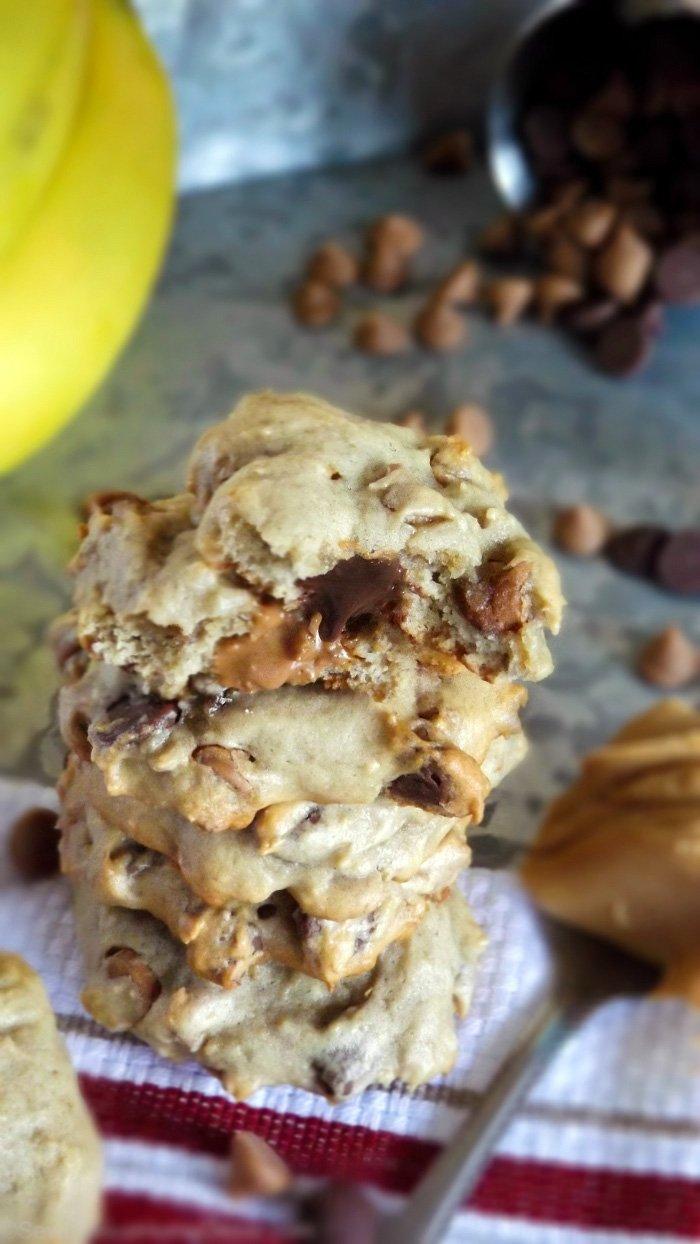Banana Peanut Butter Chocolate Chip Homemade Cookies sewlicioushomedecor.com