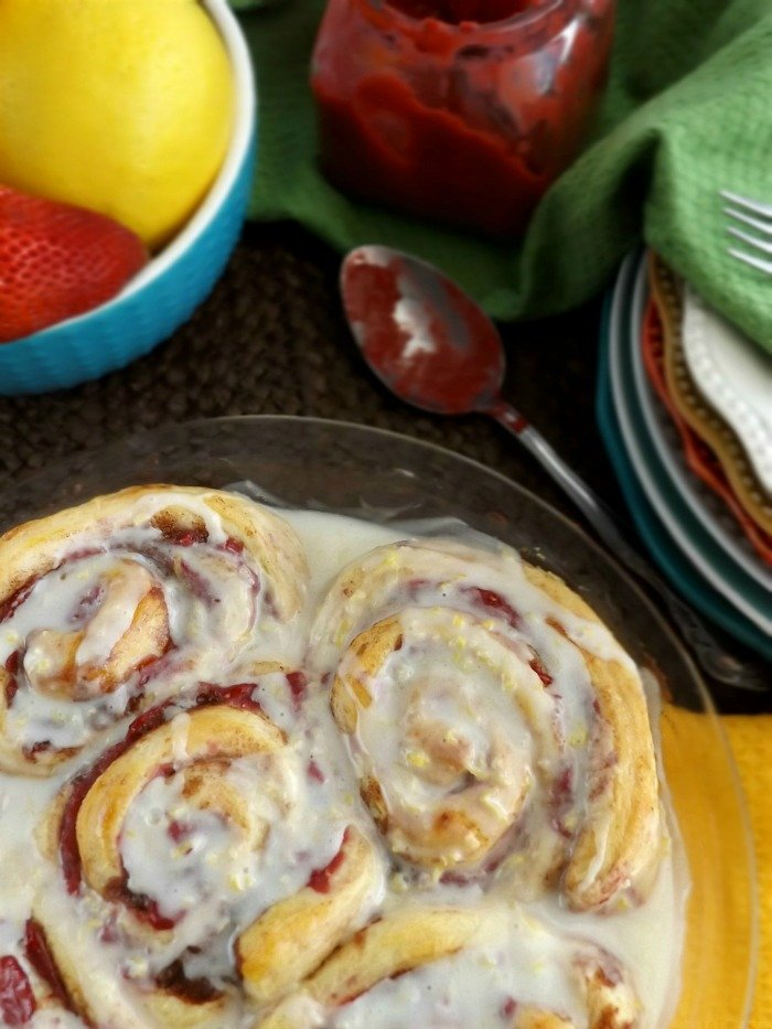 Lemon Strawberry Cinnamon Rolls sewlicioushomedecor.com