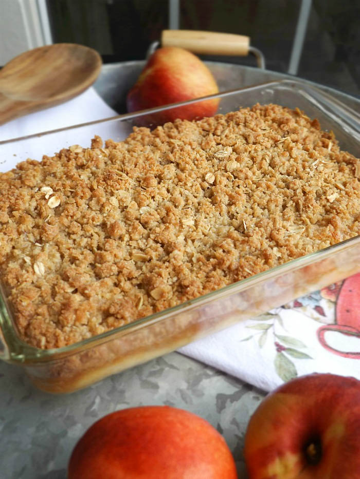 Peach Crisp Recipe sewlicioushomedecor.com