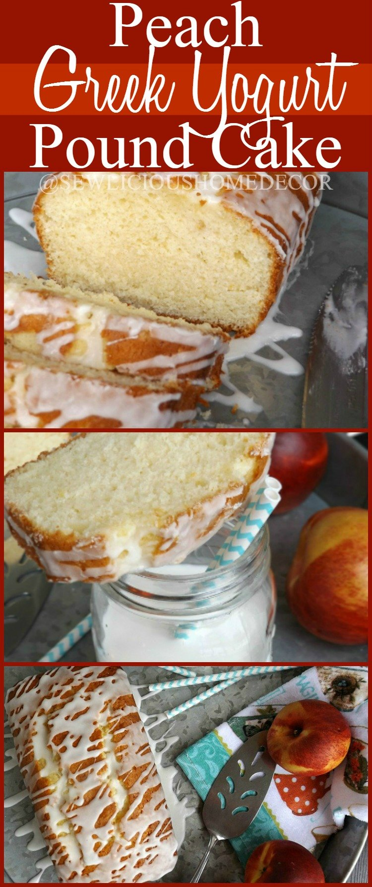 Peach Greek Yogurt Pound Cake Dessert at sewlicioushomedecor.com