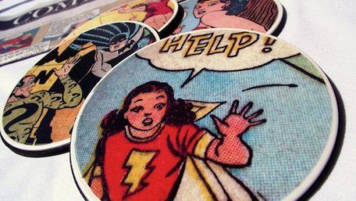 Make-coasters-using-comic-books