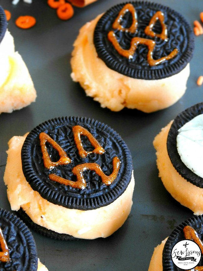 fun-kids-halloween-treats-oreo-cookies-and-orange-sherbert-sewlicioushomedecor.com