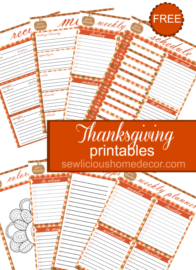 free thanksgiving printables sewlicioushomedecor.com